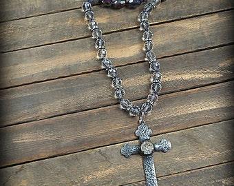 Vintage Soldered Rhinestone Cross Beaded Necklace