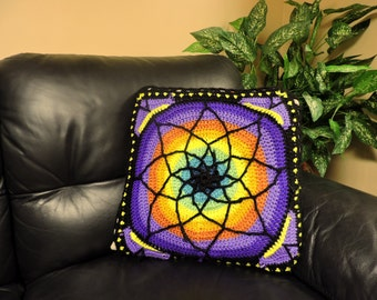 Stained glass crochet pillow 17x17 natural yarn