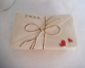 Vintage SWAK letter stack Trinket dish ~ 1940s S.W.A.K Sealed with a Kiss ~ Enesco Japan ~ Vanity Sweetheart gift