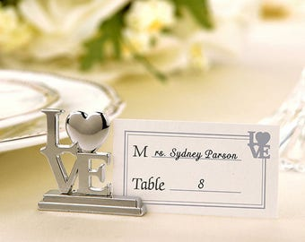 LOVE Place Card holder/Photo Holder With Matching Place Cards (SET OF 12) wedding,  decor, reception, party