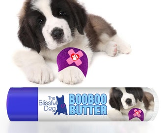 Saint Bernard Boo Boo Butter Handcrafted All Natural Herbal Balm for Your Dog's Itchy Skin Discomforts .15 oz tube with St. Bernard Label