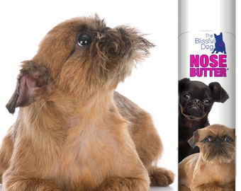 Brussels Griffon Original NOSE BUTTER® Handcrafted, All Natural Balm for Rough, Dry or Crusty Dog Noses .50 oz tube with Griff Duo Label