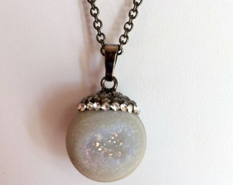 Necklace, Gemstone, White Quartz Druzy Necklace