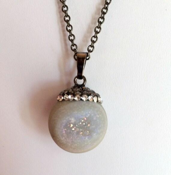 Necklace, Gemstone, White Quartz Druzy Necklace