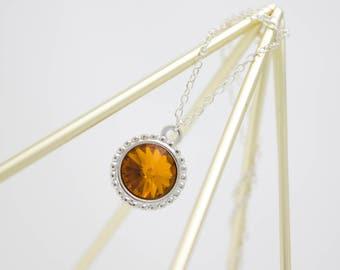 November Birthstone Necklace, Topaz Crystal Necklace, Choice of Birthstone Crystal