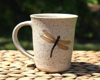 SALE - Ceramic DRAGONFLY Coffee Mug - Handmade Speckled Oatmeal Stoneware Dragonfly Mug - Ready To Ship