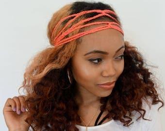 Crochet Chain Goddess Headband Hippie Headband Festival Hair Accessories Pineapple Bun Hair Wrap for Women Handmade - Coral or Choose Color