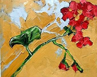 GERANIUM Oil Painting Impressionist SUMMER Garden Still Life Art Lynne French 10x10