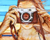 Camera Ready ART PRINT or CANVAS summer beach art vintage retro camera wall home decor painting gift, All Sizes