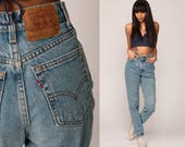 Levis Jeans Mom Jeans High Waist Jeans Distressed 80s Faded Blue Levi Denim Pants Ripped 90s Vintage 512 Extra Small xs 25