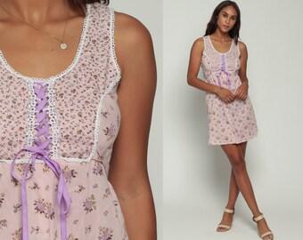 70s Babydoll Dress Mini Lavender Floral Sundress Summer Purple 1970s Boho LACE UP Corset Empire Waist Sun Vintage Sleeveless Small