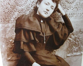 Victorian Lady in Repose Original Cabinet Card 1893 Woman at Peace for the Photographer Sweet Sepia Image Read Full Details Please
