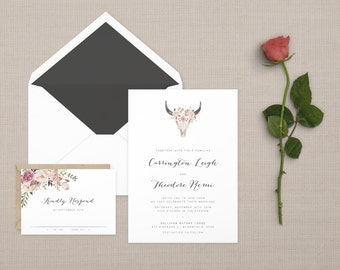 The 'Roxie' Vintage Desert Floral Wedding Invitation Suite (Sample)