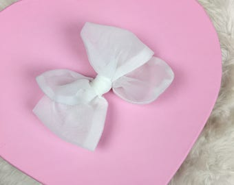 Vintage Sheer Organza White Rosie Bow Barrette for Baby, Newborn, Infant, Toddler, Child, Girl, or Adult