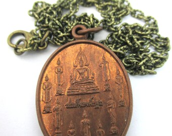 """free shipping Vintage unique rare multi Buddhas Genesis Buddha First Buddha Temple amulet Bronze Tone Textured Chain Necklace necklace 20"""""""