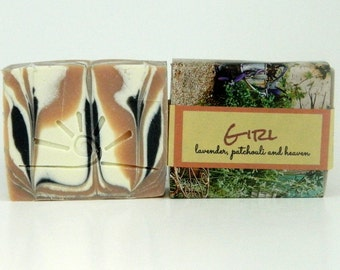GIRL soap / Organic Cold Process Soap / patchouli lavender soap bar / Womens Stocking Stuffer