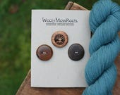 3 Mixed Wood Buttons- Madrone, Cedar & Black Walnut- Wooden Buttons- Eco Craft Supplies, Eco Knitting Supplies, Eco Sewing Supplies
