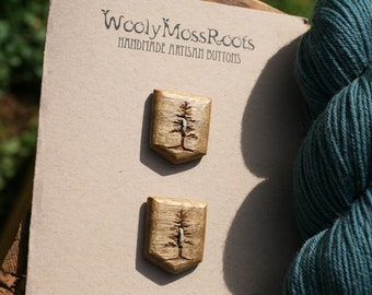 2 Wood Tree Buttons- Oregon Myrtlewood- Handmade Wooden Buttons- Knitting, Sewing, Craft Buttons