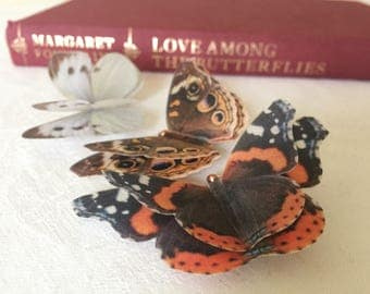 Silk butterfly hair clips with Swarovski Crystals, set of 3 double layer browns.