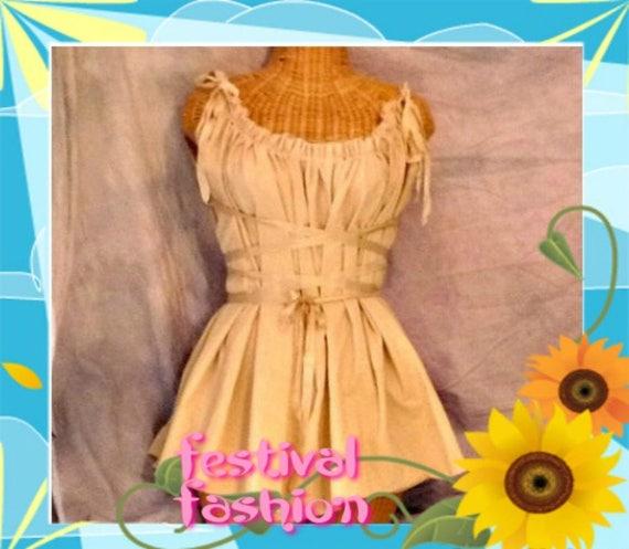Tan Corset Dress Festival Style Viking Knee Length or Short, Midi, Maxi Renaissance Gretel Custom Plain Tea Dyed Tattered Womens