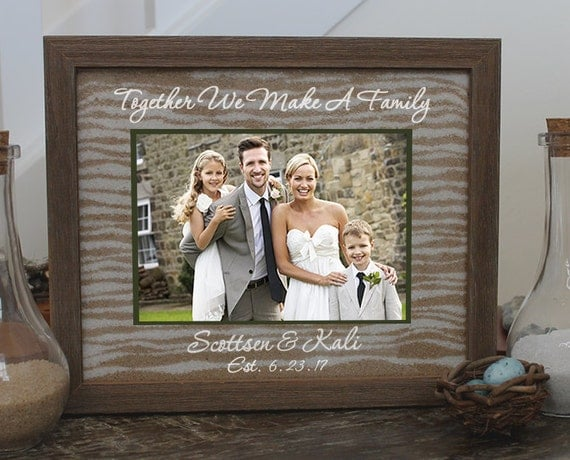 Blended Family Unity Sand Ceremony Set In Barnwood Shabby