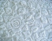 Fieldcrest White Rose Hobnail  Vintage Cotton Chenille Bedspread Fabric 18 x 24 Inches