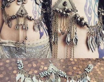 Turkoman bellydance drape with metal fringe and vintage crystal