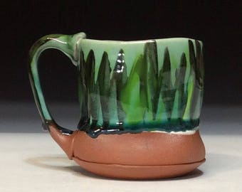 Green and black wavy brushstrokes mug great for coffee, tea, beer, juice, or water