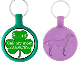 Shamrock Personalized Dog ID Pet Tag Custom Pet Tag You Choose Tag Size & Colors