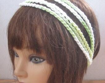 BoHo Crochet Hairband, Bohemian Band, GREEN Dread Wrap, Hair Accessory, Women n Teens, Hippie Hair Band, Hair Tie, Crochet Headband  BH5