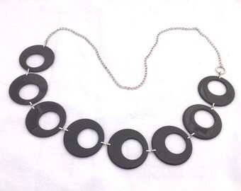 Vintage BLACK Plastic Chain LINK Belt / 80s 90s Belt / Womens Small Medium Large