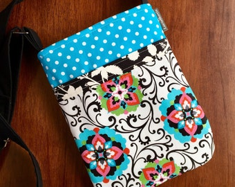 Cross Body Adjustable Strap - Whimsical - polk a dot - Tote - Ready to Ship