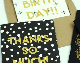Thank You Card, Thanks So Much Card, Gold Foil Card, Happy Mail, Gold Black Card, Say Thank You, Modern Thank You Card, Polka Dot Thank You