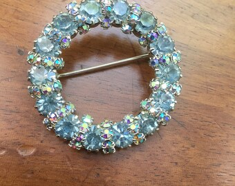 Vintage Blue AB Aurora Borealis Rhinestone Pin