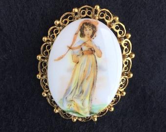 Vintage Victorian Revival Portrait Pin Lady