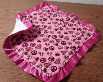 Baby Girl Lovey Skull Cherry Peace Sign Pink Smooth Soft Minky , White Silky Swirl Minky with Hot Pink Satin Ruffles 16 x 16 READY TO SHIP