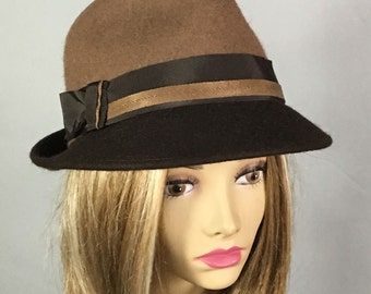 Sami,  Fur Felt Fedora womens millinery hat,  two-tone color brown and tan