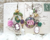 mismatched lilac cameo earrings assemblage spring roses romantic floral recycled vintage jewelry cottage chic