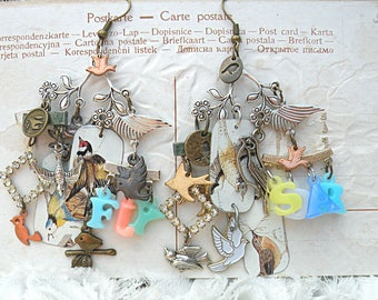 tin bird assemblage earrings charm chandelier upcycled dangle summer woodland garden cottage chic