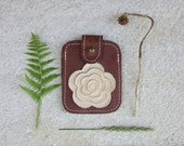 SALE Business Card Case, leather credit card Holder, brown leather wallet, floral ornament, hazelnut card case, gift for girlfriend