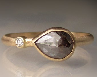 Rose Cut Diamond Engagement Ring, Chocolate Diamond Ring, Rose Cut Diamond Ring, Recycled 14k Yellow Gold Diamond Ring, OOAK