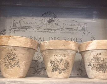French Inspied Clay Pots - Set of 3
