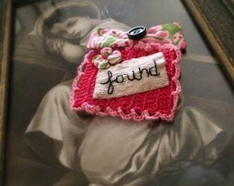 Found Handstitched and Crocheted Fabricc Mini Collage Brooch