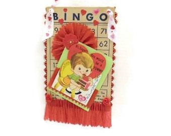 Handmade Bingo Card & Vintage Valentine Decoration