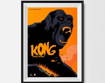 Kong Print, King Kong, Skull Island, Movie Poster, Minimalist, Man Cave, Alternative Movie Poster, Minimalist Print, King Kong Art
