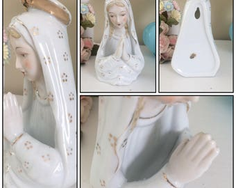 Vintage VIRGIN MARY Wall Pocket or Table Top FIGURINE Madonna Porcelain Rosary Holder Gold Halo Chase Japan Hand Painted Catholic Spiritual