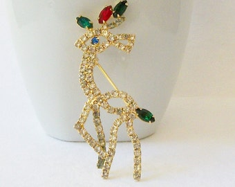 ON SALE Vintage Reindeer Brooch, Vintage Christmas Jewelry