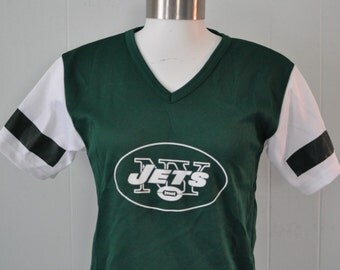 Vintage Football Jersey New York Jets Moss green NFL by Franklin 80s ny nyc Ladies SMALL