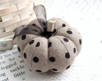 Cute Gray and Black Polka Dot Cotton Pumpkin Pincushion Fall Decor Halloween Pumpkin
