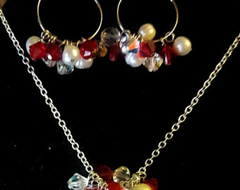 Red and white freshwater  pearls and swarovski crystal necklace and earrings